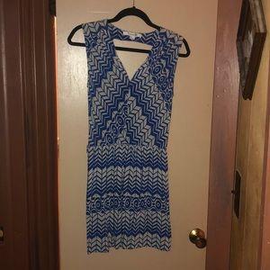 F21 Blue Abstract Sleeveless Dress